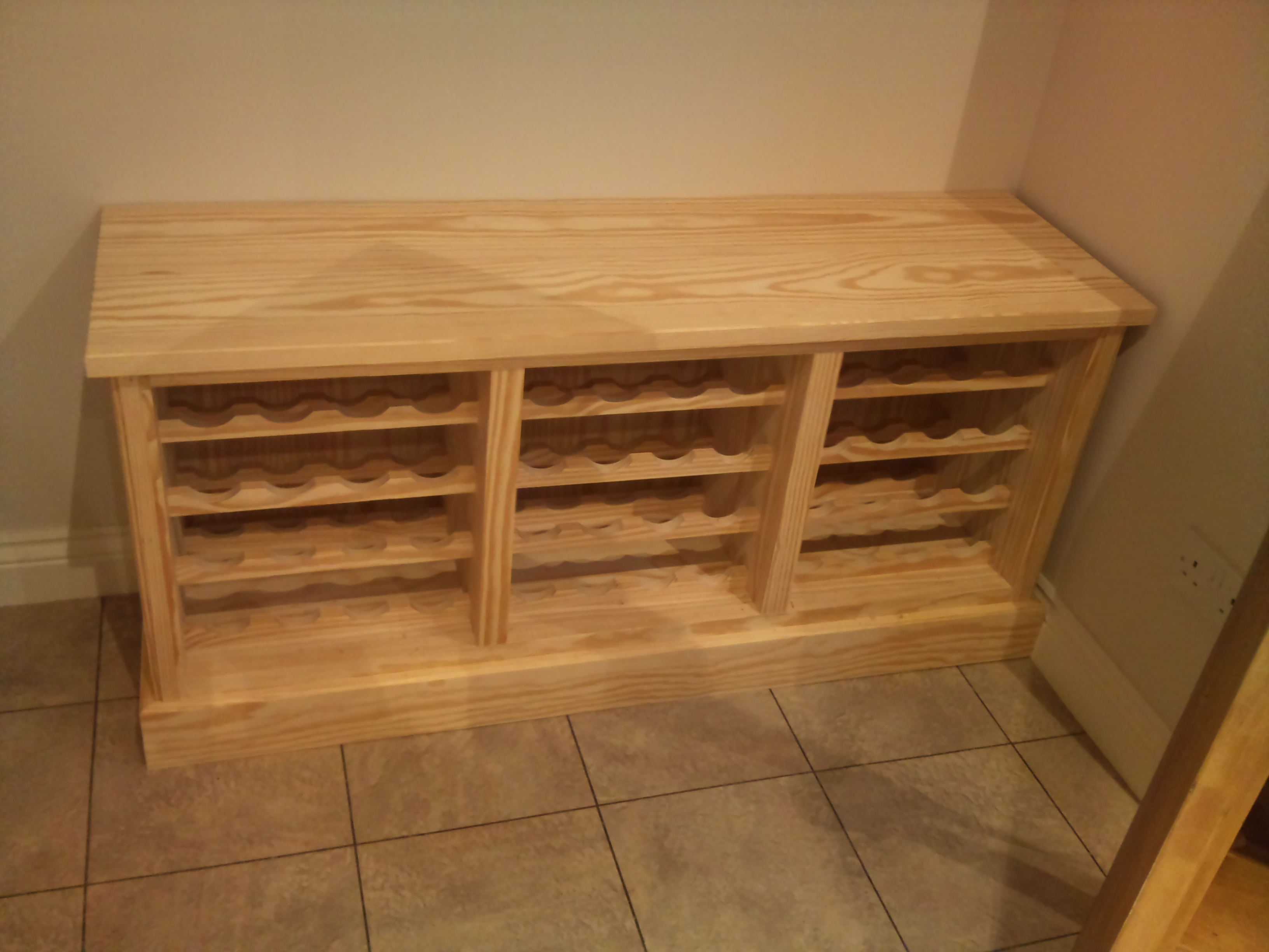 Wine rack made from solid pine
