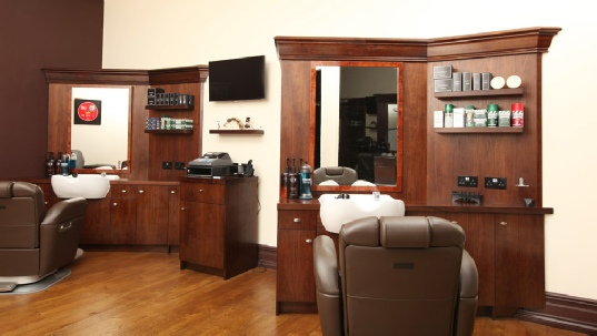 Barber shop in Hove - Sussex. Made from American Walnut and sprayed with clear PU lacquer