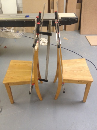 Glueing up oak dining chairs