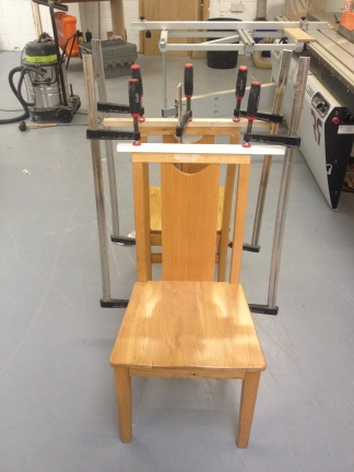 Glueing top rail on oak dining chairs