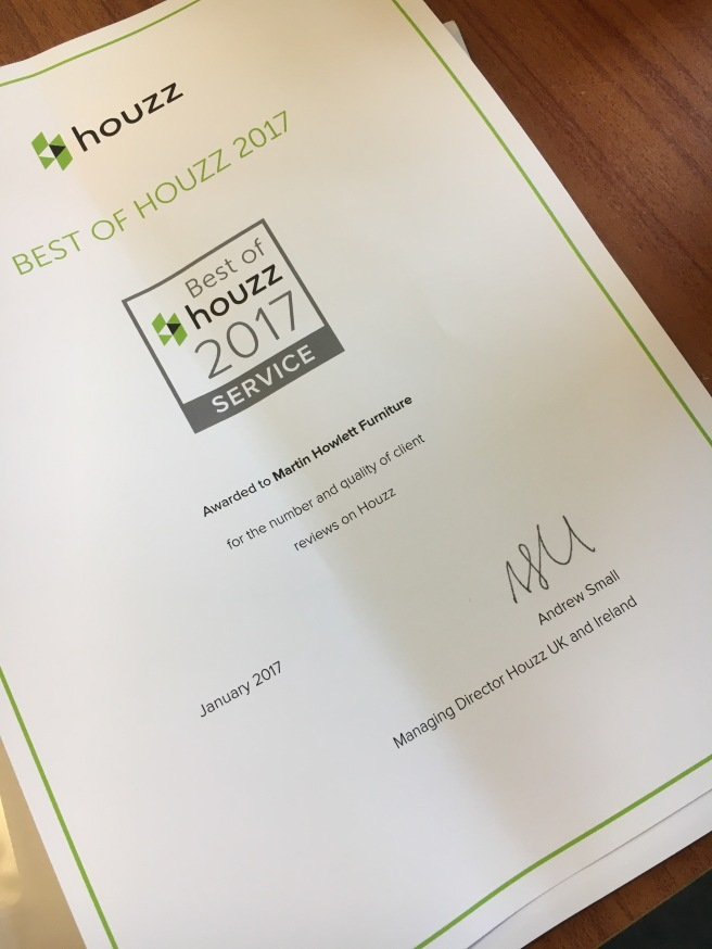 Picture of certificate from Houzz Website for customer service