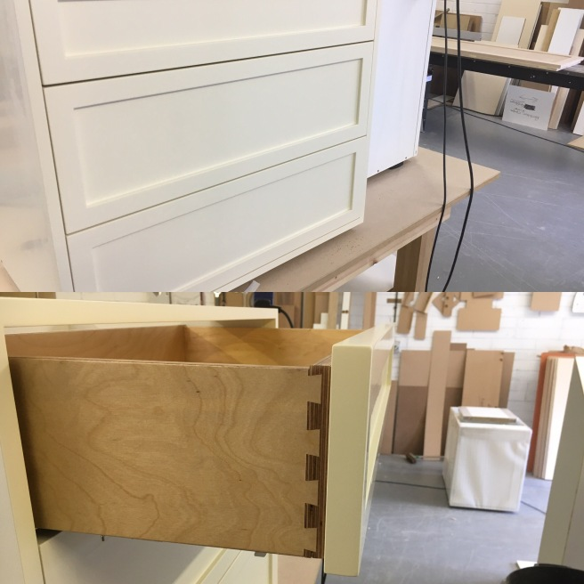 Drawer fronts and dovetailed drawers