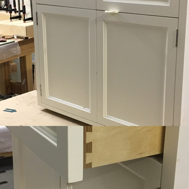 Fitting out cupboard doors prior to fitting