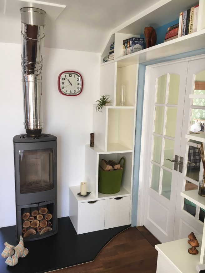 Wood burner and shelving