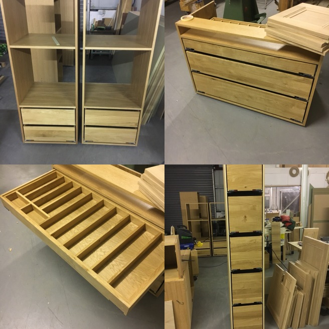 Oak dovetailed drawers for fitted kitchen