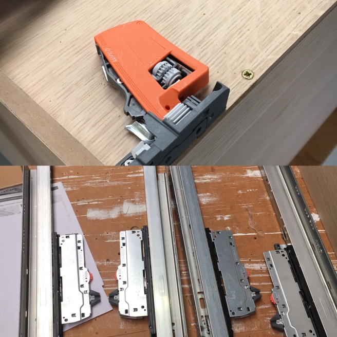 Blum drawer runners and clips