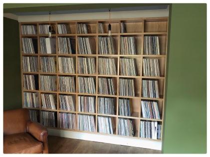 Oak record storage bespoke cabinet